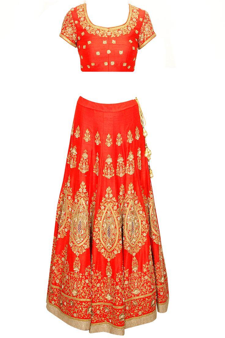 Red marodi embroidered lehenga set by Anoli Shah.