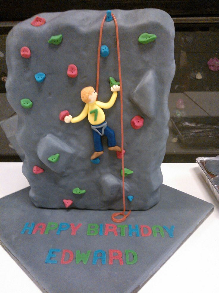 Rock climbing wall cake for 7th birthday. I used a ...