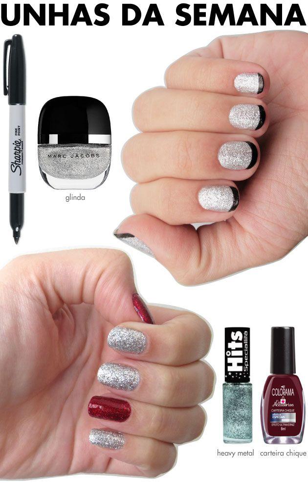 unhas-de-segunda-unhas-diferentes-e-nail-art-glitter-prata-esmalte-marc-jacobs-glinda-sharpie-preta-inglesinha-misturinha-carteira-chique-co...