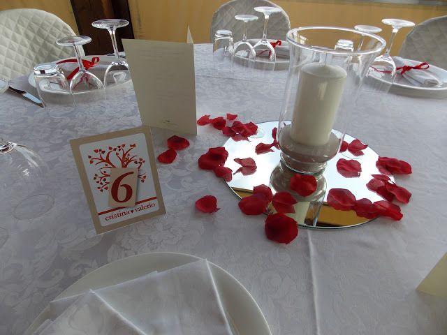 centrotavola economico: specchi, candele e petali di rosa