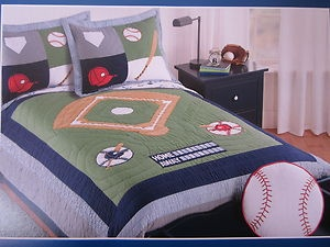 Charles Street Kids Bedding Full Queen Quilt Sports Baseball Hat Ball