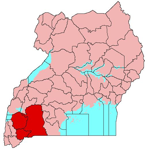 Location of Ankole (red) in Uganda (pink)