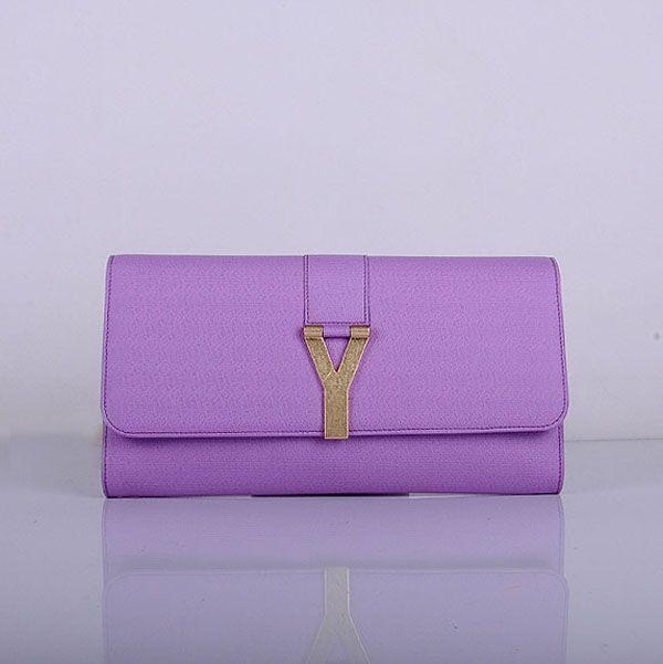 Yves Saint Laurent Lady Genuine Leather Purse Purple 39321        $178.00