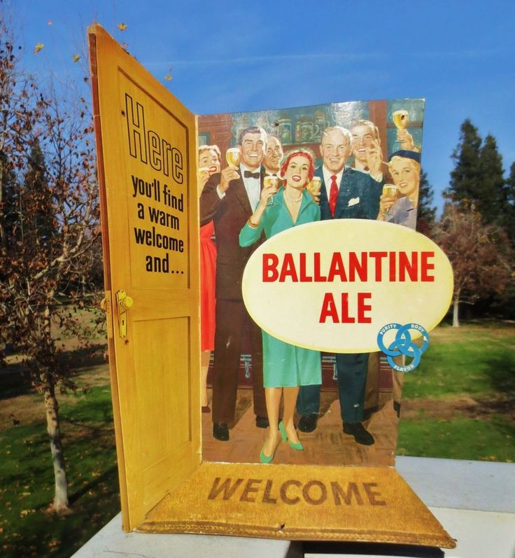 "Vintage 1954 Ballantine Ale cardboard beer sign display ""3D""  miller coors bud"