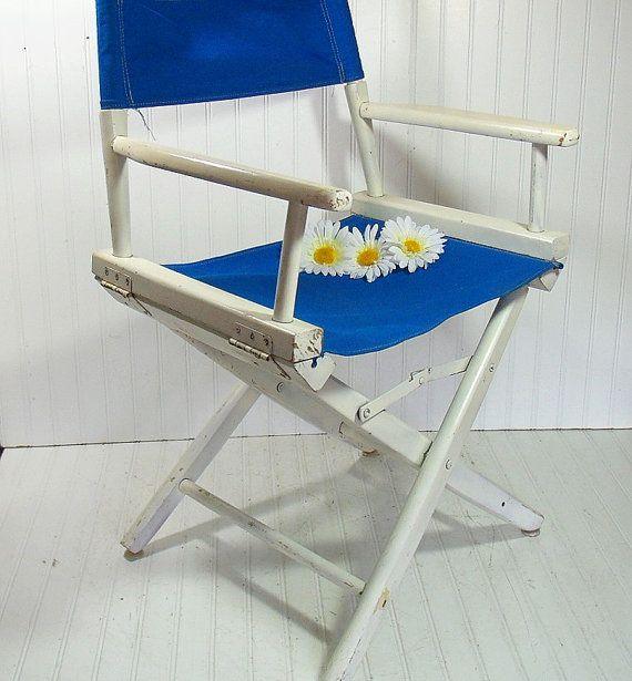 Vintage Wood U0026 Royal Blue Canvas Fabric Directoru0027s Chair   Chippy White  Paint With Fabric Folding Furniture   Retro Outdoor Additional Seat By  DivineOrders ...