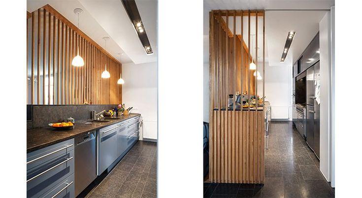 id e cloison l 39 l gance d 39 un claustra en lames de bois cuisine pinterest cloisons. Black Bedroom Furniture Sets. Home Design Ideas