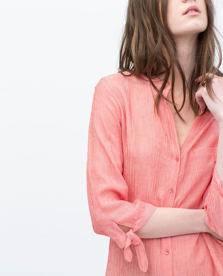 STRIPED BLOUSE WITH TIE-SLEEVES from Zara