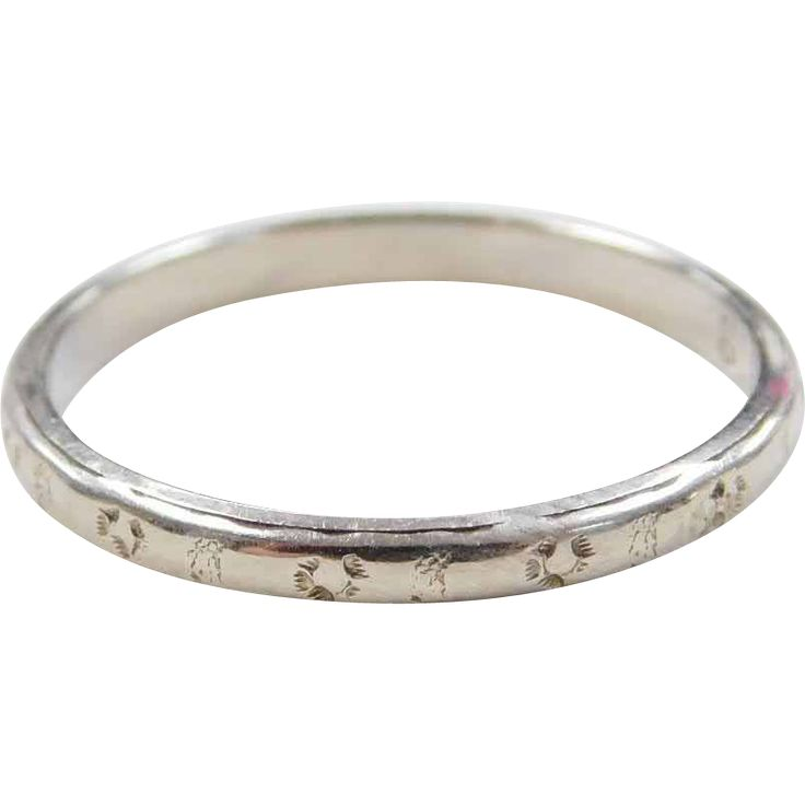 Art Deco 14k White Gold Etched Wedding Band