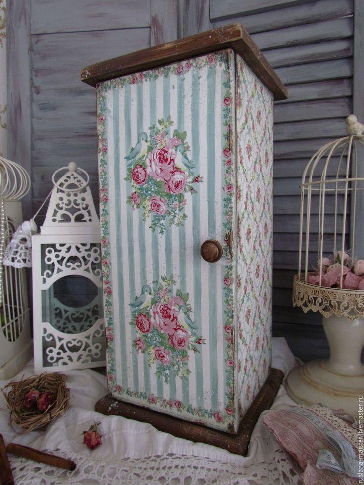 "Купить Шкаф ""Розовый сад"" - бирюзовый, розовый, птицы, розы, розовый сад, прованс, винтаж"