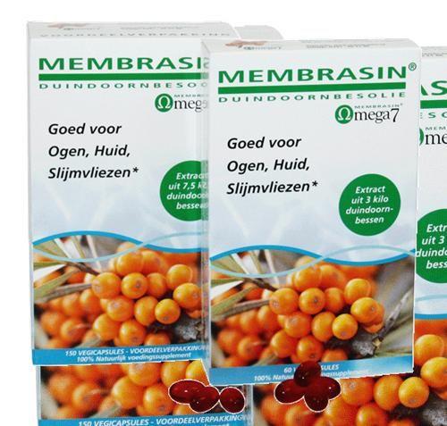 TS Products Membrasin Omega-7 capsules 150 capsules - Membrasin bevat de pure olie uit het vruchtvlees en de pit van de heilzame duindoornbes. Als ��n van de weinige vruchtjes is de duindoornbes rijk aan omega-7-vetzuren (waaronder palmitole�nezuur, dat ook in onze huid voorkomt). Membrasin bevat ook b�tacaroteen, dat in het lichaam kan worden omgezet in vitamine A. Membrasin is daarom in het bijzonder goed voor de huid, ogen en slijmvliezen.* * Vitamine A draagt bij tot de instandhouding…