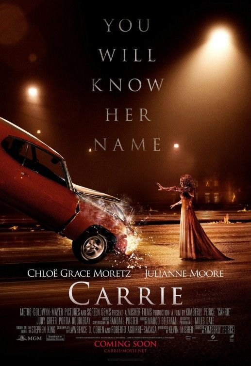 Carrie 2013. A fairly enjoyable film. Not too high up there as far as scares go, but it has an intriguing plot that keeps you interested. More subtle scares from the Mother than from Carrie herself