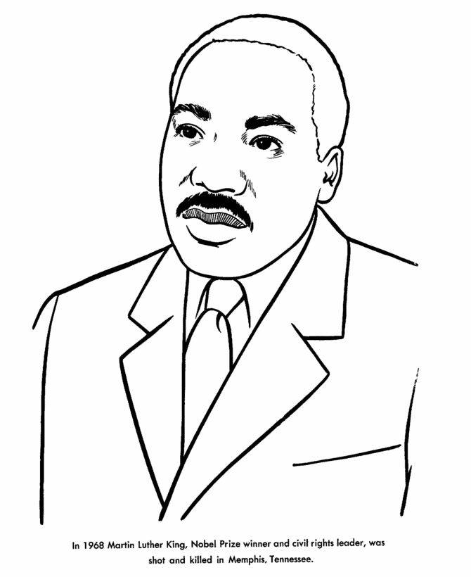 Martin Luther King Jr colorign page from USA Printables - free US North American Historyh coloring pages