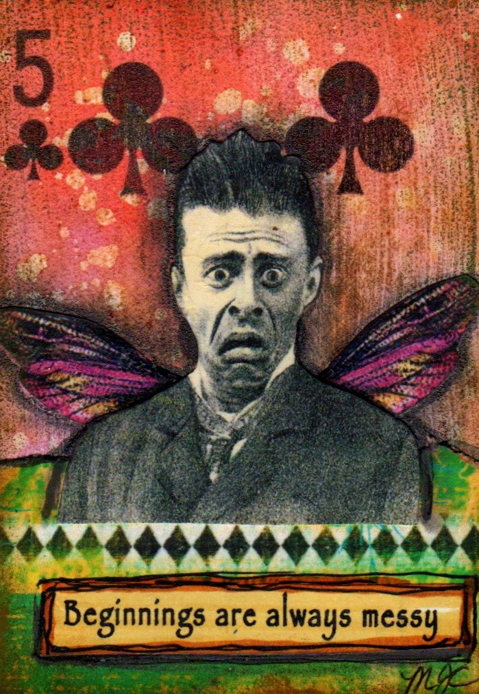 """Altered Playing card from """"The Spoken Soul"""", an online class this summer on Artful Gathering - by MJ Chadbourne/Desert Dream Studios/Copyright 2013/All Rights Reserved"""