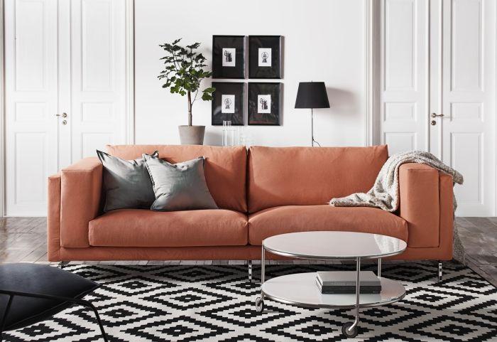 NOCKEBY zitbank | #IKEA #bank #interieur #oranje #zwartwit #kleed