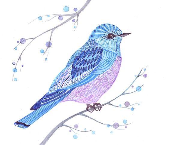 Original watercolor 10x8 LACE blue bird by TEVA