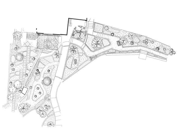 Sa Figuera - Hand drawn design for terraced country garden by Mark Whiting, Contemporanium #garden #design mark@contemporanium.com