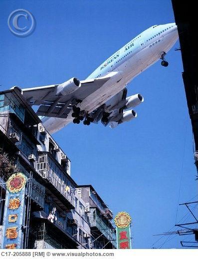 Hong Kong, airport, Kai Tak Airport, aeroplane, landing approach