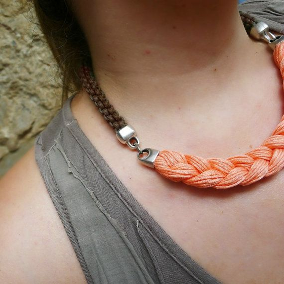 coral statement necklace rope necklace in by beYOUtifulhandmade