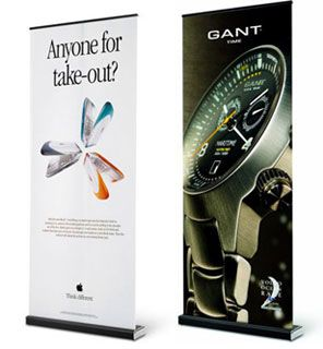 Expand MediaScreen 1 - Banner stand display shown front and back.
