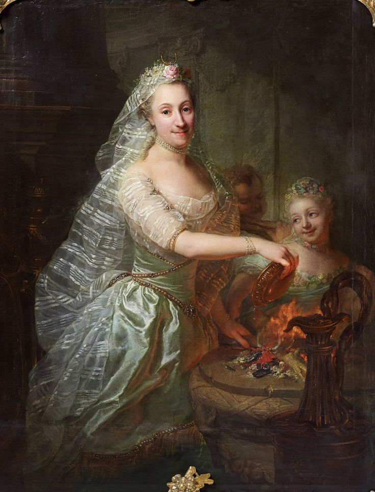 Portrait of Magdalene Charlotte of Olthoff as a priestess by Georg David Matthieu, 1760s