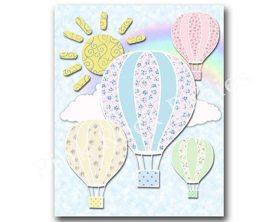 Neutral nursery art hot air balloons kids room by PinkRockBabies