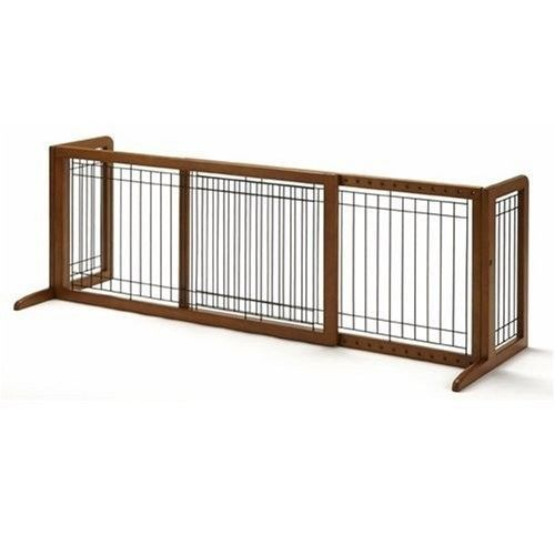Wood Freestanding Pet Gate Dog Fence Safety Walk Wide Baby