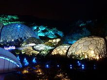 The Biomes and Link building showing Field of Light installation by Bruce Munro
