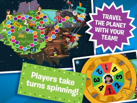 The Electric Company Party Game: Lost on Prankster Planet by PBS Kids:  Two to four players work together to solve puzzles, complete physical challenges, and interact with the real world to rescue the Electric Company characters from Prankster Planet. | Ages: 6-10 | Available on iOS, Android, Amazon, Nook | Cost: Free | Keywords: board game, real world, interactive, multiplayer, challenges, puzzles| Reviewed on 3/31/2017