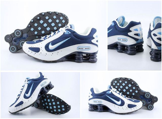 056QG19 2014 White Dark Blue Mens Nike Shox Monster Shoes