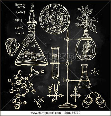 Hand drawn science beautiful vintage lab icons sketch set Vector illustrationBack to School Doodle lab equipment Chalk on blackboard Biology geology alchemy chemistry, magic tattoo elementsn - Shutterstock