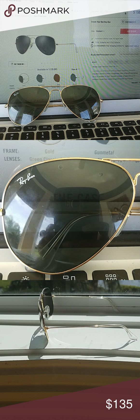 Gold aviator classic ray-ban sunglasses Gold rimmed aviator classic ray-ban sunglasses, in perfect condition, perfect for the beach this summer! Ray-Ban Accessories Sunglasses