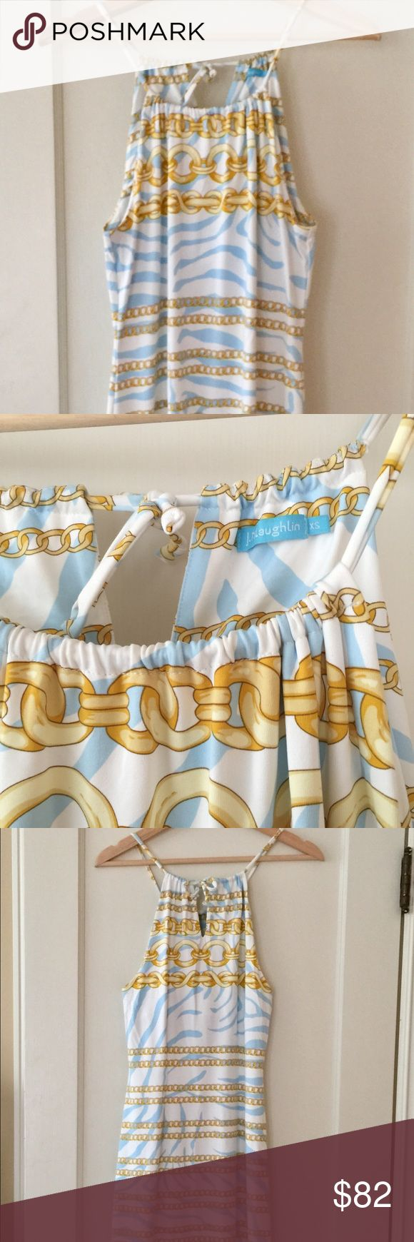 J. McLaughlin blue, white and yellow halter dress Worn once.  Darling nautical theme.  Adjustable at neck.  Very smart looking! J. McLaughlin Dresses