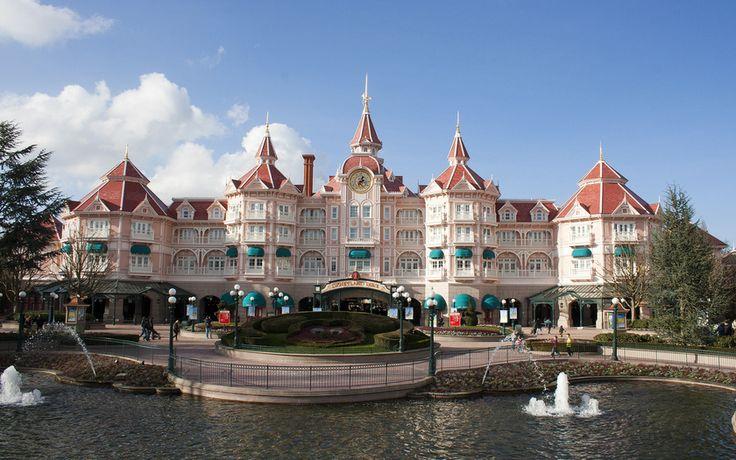 Париж, Диснейленд, небо, Disneyland, замок, отель, фонтан