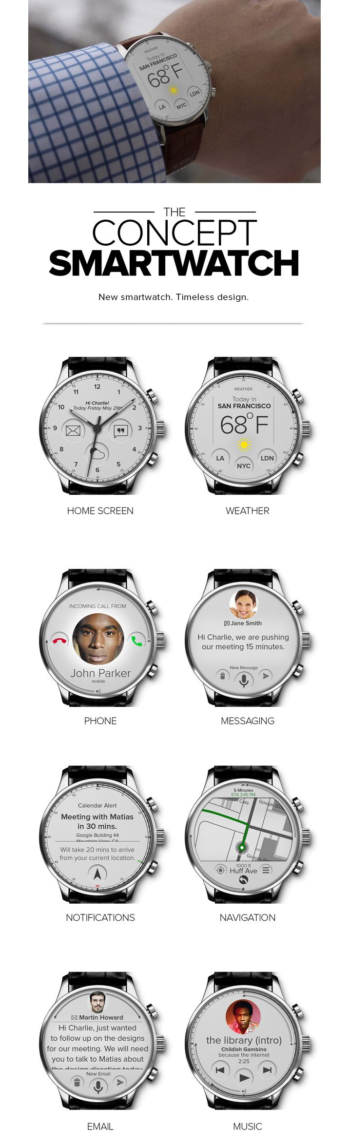 Smartwatch UI concept http://www.cssdesignawards.com/articles/23-smartwatch-ui-designs-concepts/114/