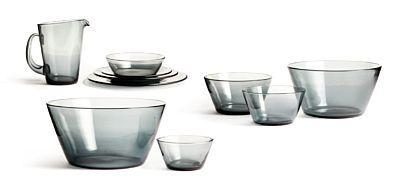 """WILLY JOHANSSON JEVNAKER 1921 - D.SST. 1993 Servise """"Multe"""" Hadeland Glassverk.Røkfarget glass. 1960-tallet."""