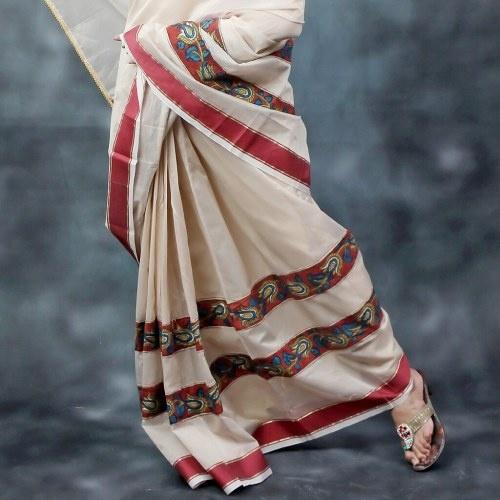 Cream Kalamkari