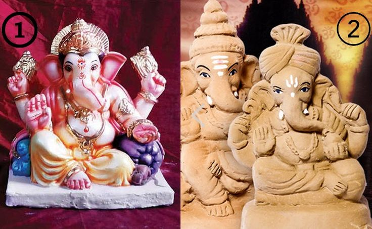 Which one you will use this #Ganeshchaturthi?  1. POP #Ganesha #Idol 2. #EcoFriendly #Ganesha Idol (Mati #Ganesh)