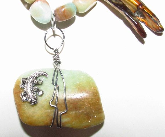 Semi precious stone shell wood wire wrapping by AFRICASUNCRAFTS