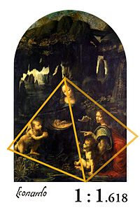 "In Leonardo Da Vinci's ""Madonna of the Rocks"" a Golden Pyramid frames the composition of the figures."