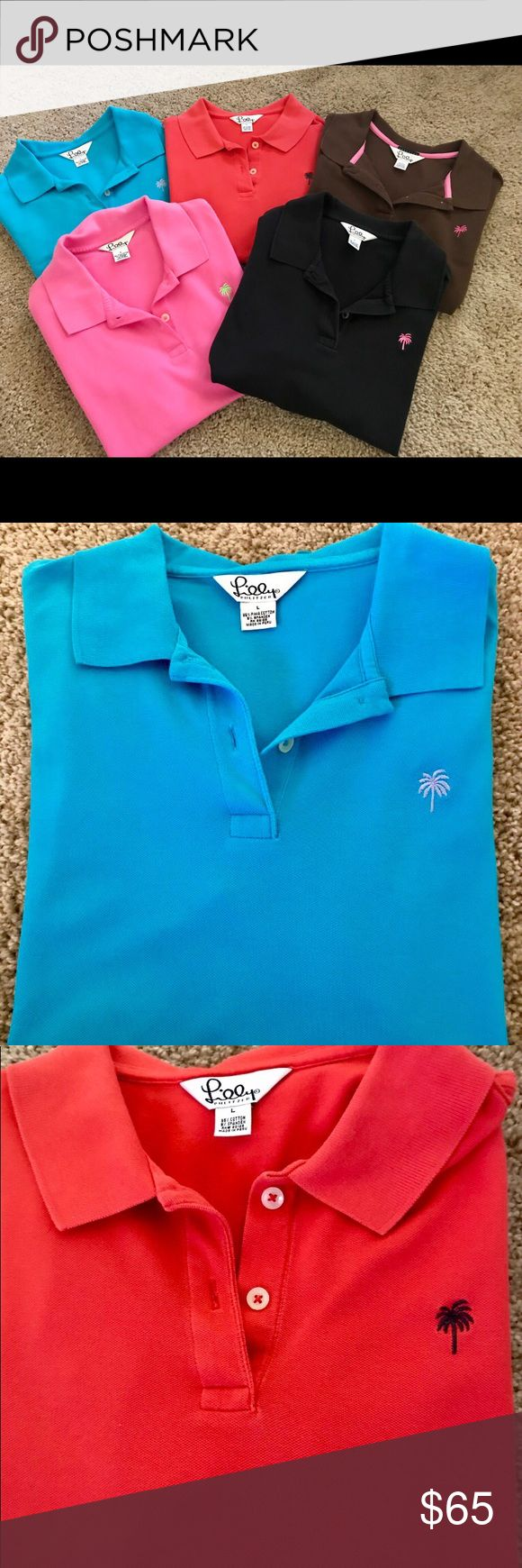 5 Short Sleeve Lilly Pulitzer Polo Shirts Short sleeve. Size Large. Like new. Pink, Red, Black, Brown, Blue. Can be sold separately. Ladies Lilly Pulitzer Tops Tees - Short Sleeve
