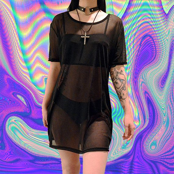 Sheer mesh dress black soft grunge oversized shirt VTG 90s club kid mini dress cyber gothic goth tumblr fashion