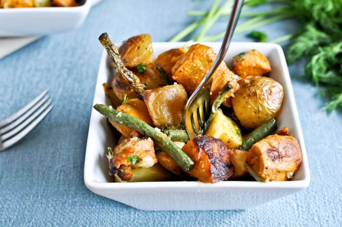 Roasted Potatoes and Green Beans : tossed with parmesan and roasted garlic.