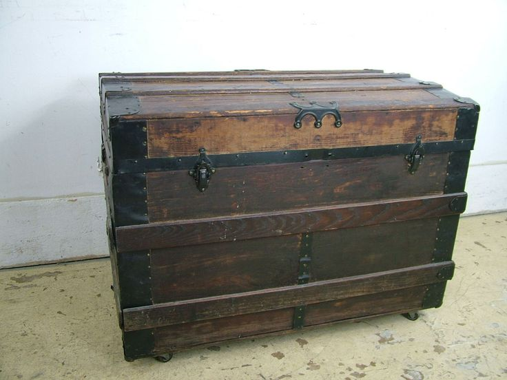Antique 1890s Wood Slat Iron Steamer Storage Victorian Trunk Chest Extra Grungie | eBay