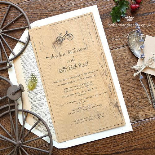 eco chic wedding invitation www.bohemiandreams.co.uk