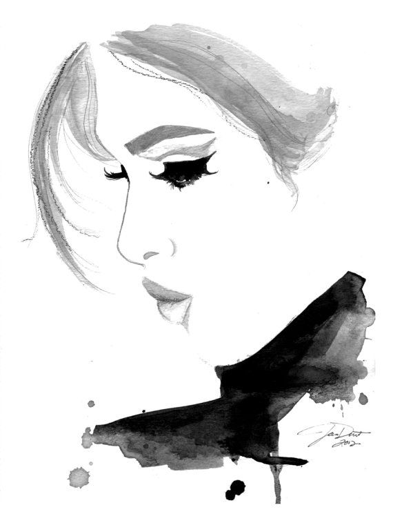 Print from original watercolor and pen fashion illustration by Jessica Durrant titled, Fade into You