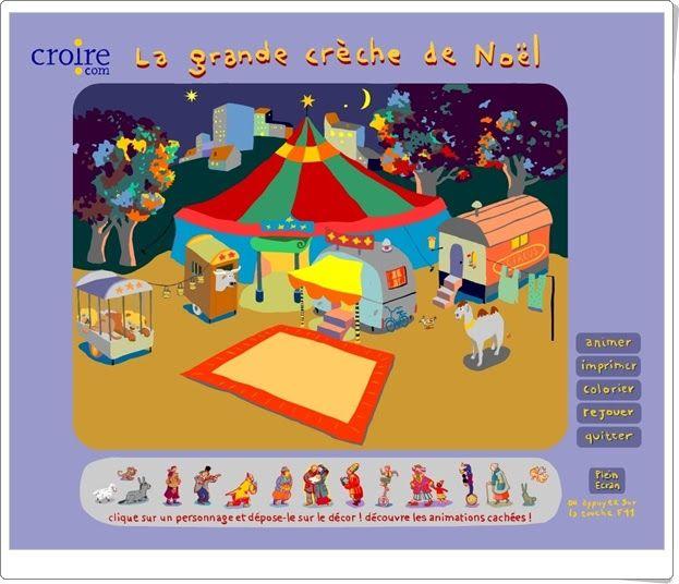 """""""Le grand crèche de Noël"""", de croire.com, es un bonito Portal de Belén, ambientado en el circo, que ha de ser compuesto con las figuras adecuadas y puede ser animado. Además, otro modelo puede ser coloreado y se puede imprimir."""