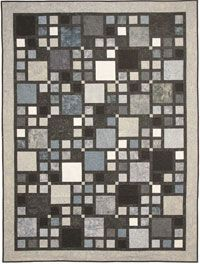 """Walk in the City by Elisa Wilson of Back Porch Design is a very popular quilt pattern that measures 62"""" x 83"""". It is designed around 10"""" squares but you can use 1/3 yard cuts to get four 10"""" squares from each. Make it scrappy or choose a color theme. http://www.kayewood.com/item/Walk_in_the_City_Quilt_Pattern/3393 $9.00"""