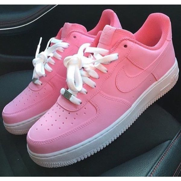Pretty Pink Nike Air Force 1 Nike Air Force 1 Pink Petal Pink Nike... ($187) ❤ liked on Polyvore featuring shoes, grey, sneakers & athletic shoes, tie sneakers, unisex adult shoes, leather footwear, water proof shoes, unisex shoes, gray shoes and grey leather shoes