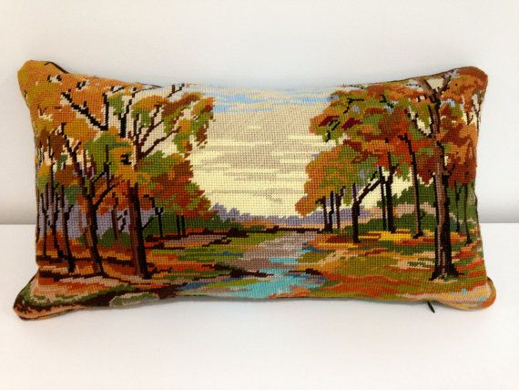 Needlepoint Cushion Pillow Hand Stitched by didyoumakeityourself