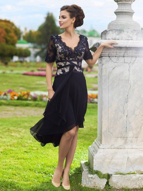 A-Line/Princess V-neck Chiffon Lace High Low Hem Evening Dress
